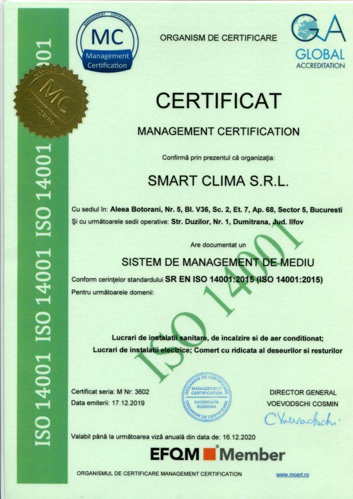 Certificat de calitate ISO 14001