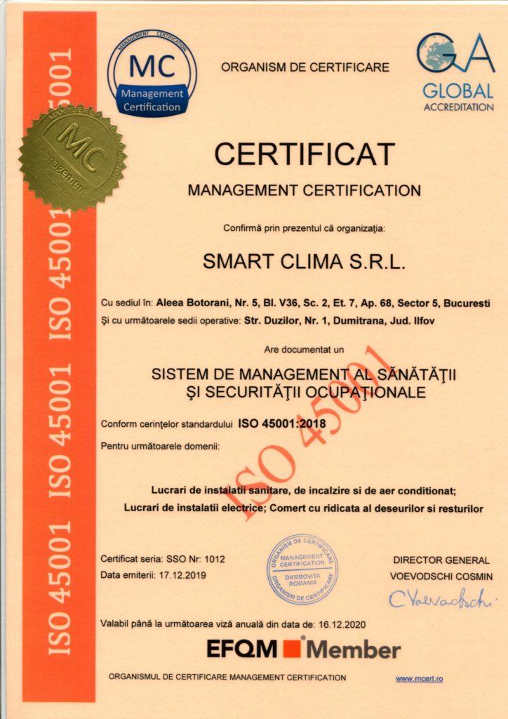 Certificat de calitate ISO 45001