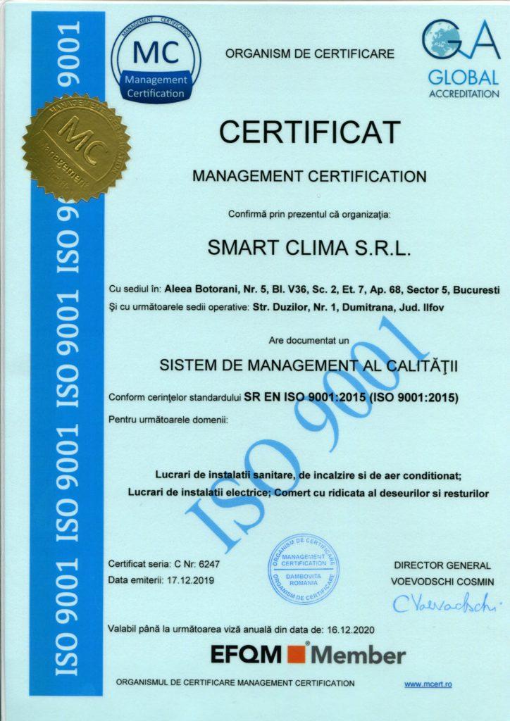 Certificat de calitate ISO 9001